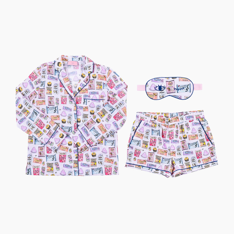 Candy Crush Short PJ Set with Eye Mask