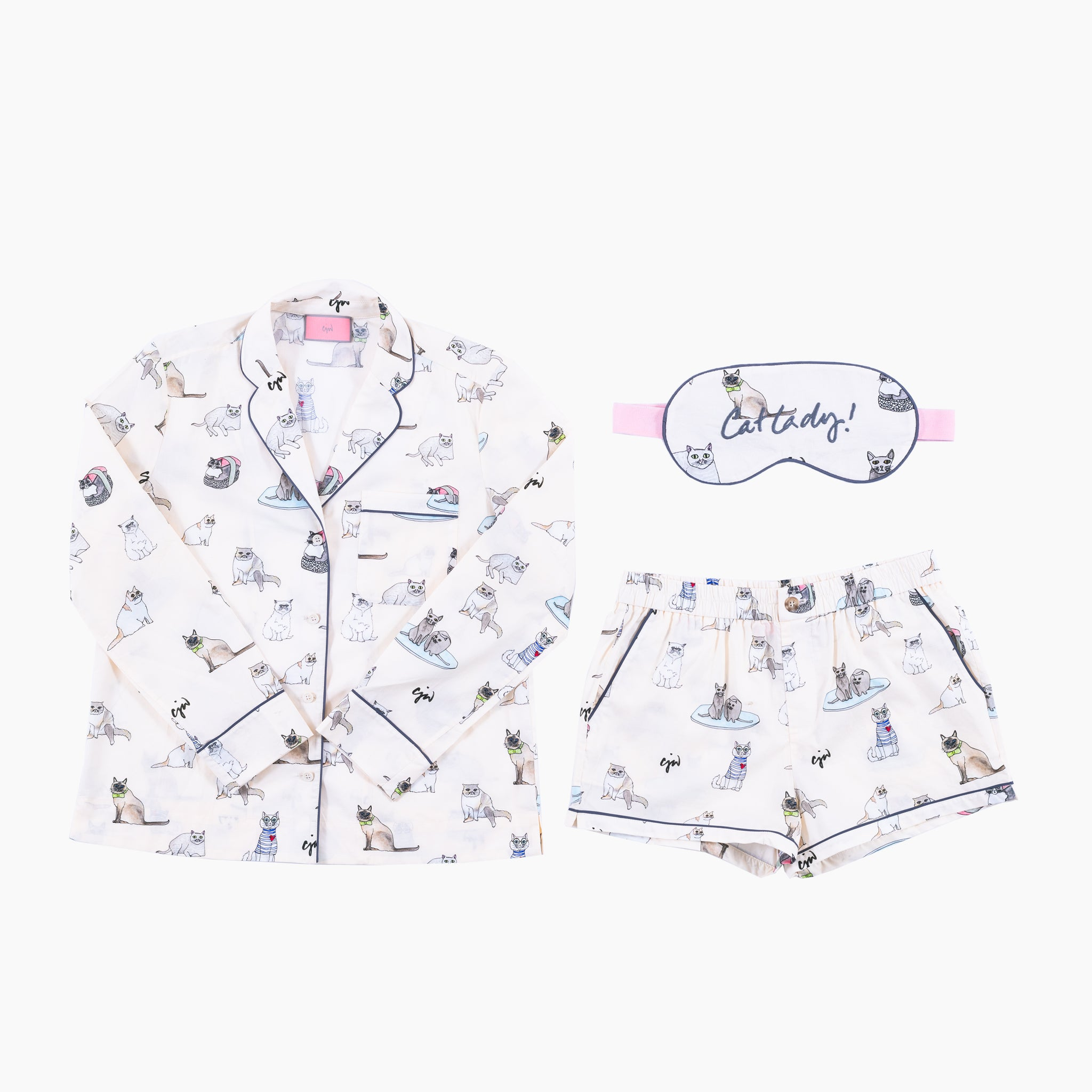 Cat Lady Short PJ Set with Eye Mark