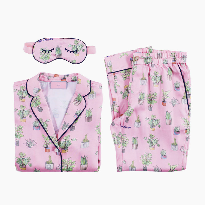 Plant Mom Pajama Set with Eye Mask