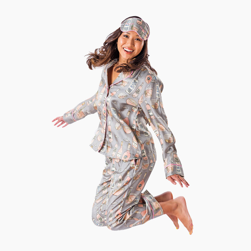 Rosé All Day Long Pajama Set with Eye Mask