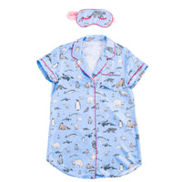 Winter Animals Sleep Shirt with Eye Mask