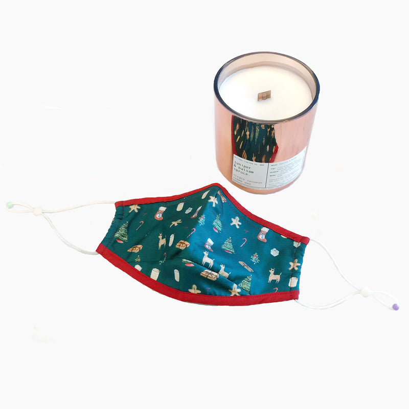 CJW x ALIBI NYC holiday gift set | holiday face mask + juniper & balsam spruce candle