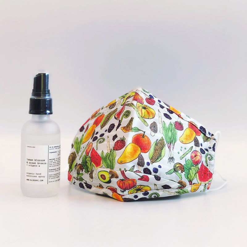 CJW x ALIBI NYC spring outdoor pack | eat your veggies mask + lemon blossom and ocean breeze hand sanitizer spray