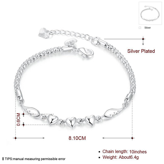 Sterling Silver Plated Heart Bracelet