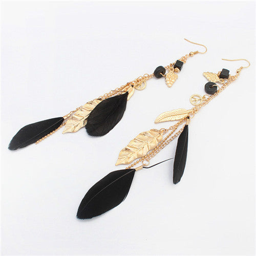 Feather and Bead Earrings