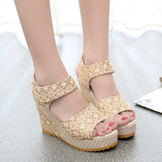 Womens Open Toe Wedge Shoe