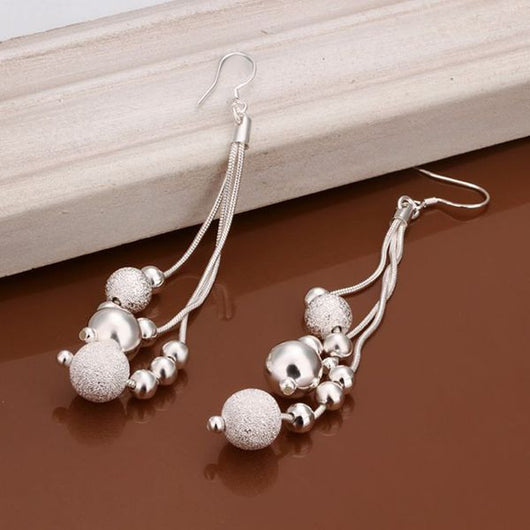 Silver Plated Bead Earrings