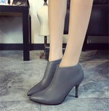 Womens High-heeled Leather Short Boots