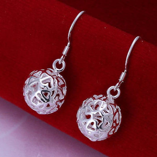 Silver Plated Heart Orb Earrings