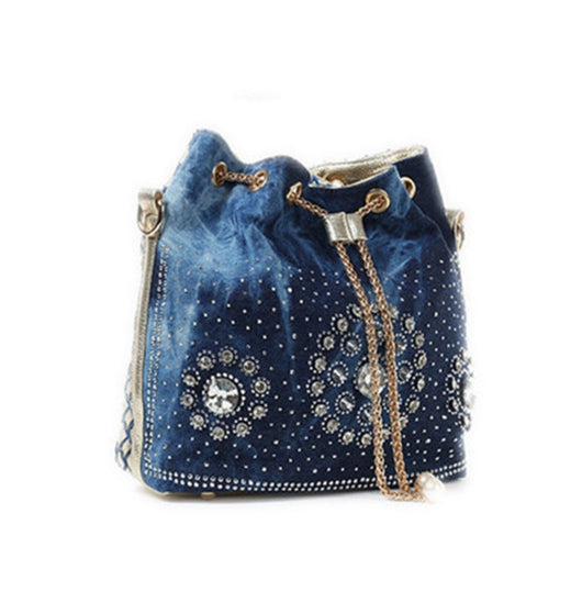 Denim Shoulder Handbag with Rhinestones