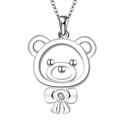 Silver Plated Bear Pendant Necklace