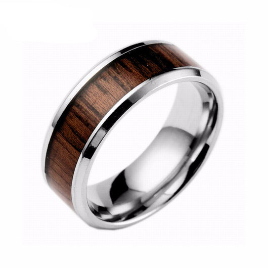 Stainless Steel Wood Inlaid Ring