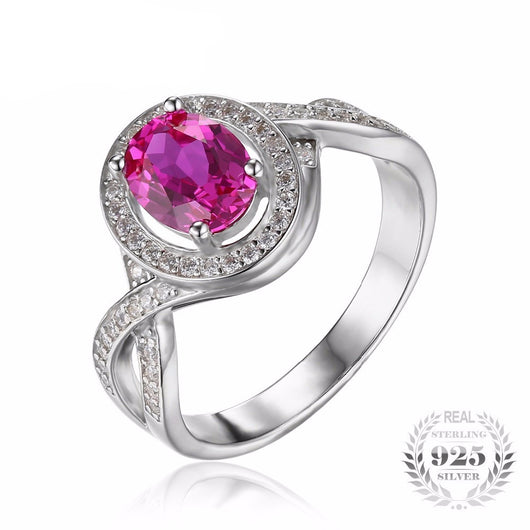 Women's Sterling Silver 1.8ct Oval Pink Sapphire