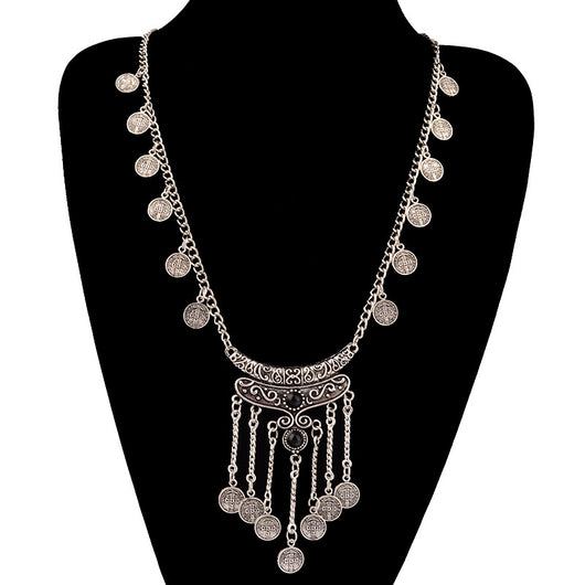Bohemian Long Tassel Silver Coin Necklace