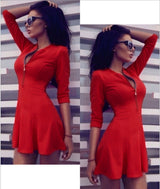 Women's V-neck Zipper Long Sleeve Mini Dress