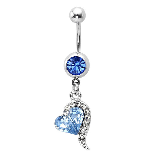 Blue Crystal Heart Belly Button Ring