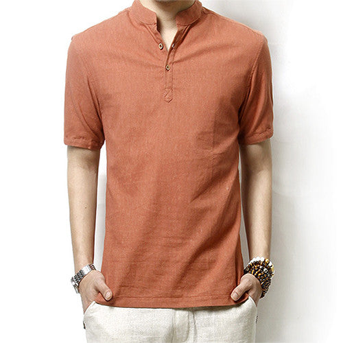 Men's Cotton Casual Slim Fit Short Sleeve Shirt