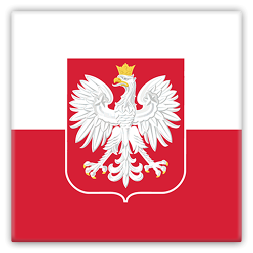 Polish Flag Square Metal Fridge Magnet - My Polish Heritage