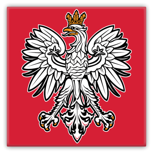Polish Eagle Square Metal Fridge Magnet - My Polish Heritage