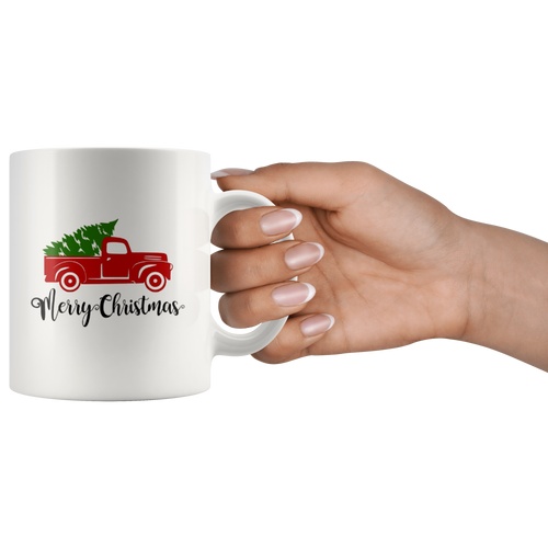 Merry Christmas Red Truck Coffee Mug Gift