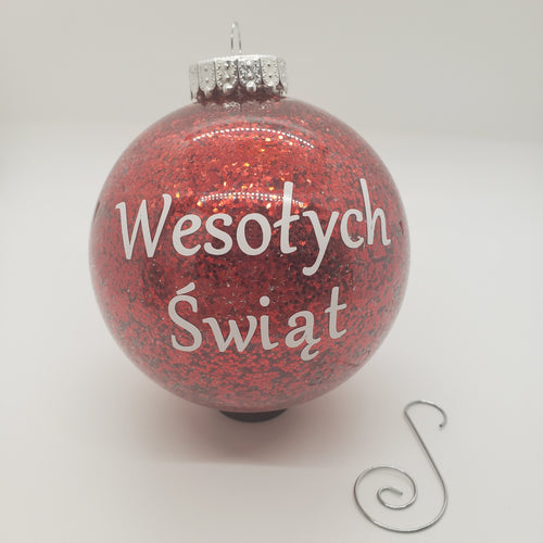 Handmade Glitter Merry Christmas Ornaments. In Polish