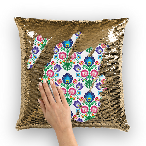 Feminine Floral Sequin Cushion Cover