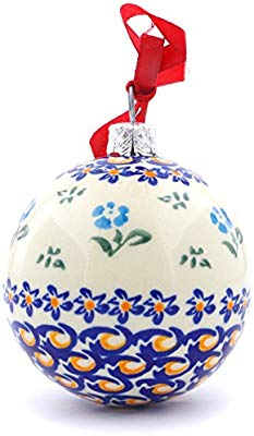 Polish Pottery Christmas Ball Ornament