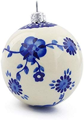 Collectible Polish Pottery 3½-inch Ornament Christmas Ball