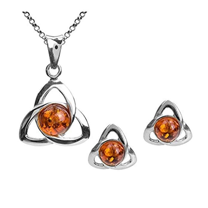 Amber Sterling Silver Celtic Earrings Pendant Necklace Set