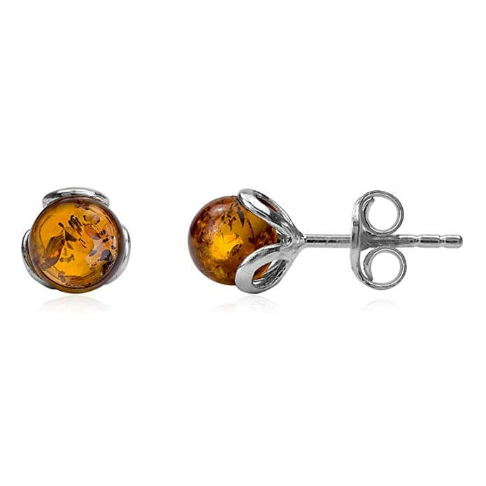 Amber Sterling Silver Small Stud Earrings