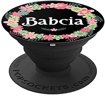 Babcia Polish Grandma Floral PopSocket Phone Grip and Stand for Phones and Tablets