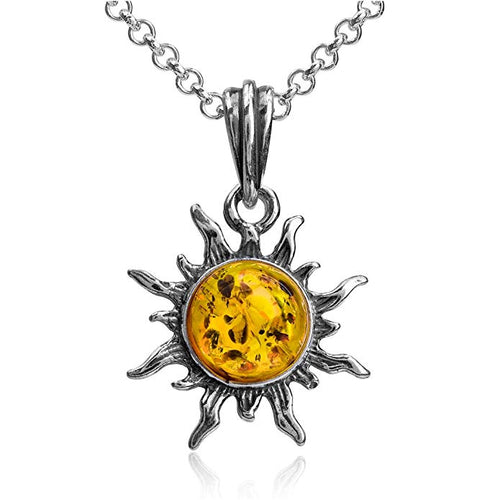 Amber Sterling Silver Flaming Sun Pendant Necklace