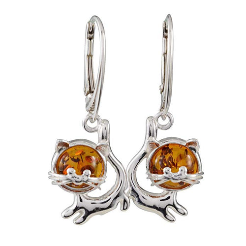Sterling Silver and Baltic Amber French Leverback Honey Amber Cats Earrings