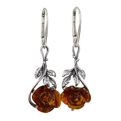 Sterling Silver and Baltic Honey Amber Leverback Rose Earrings