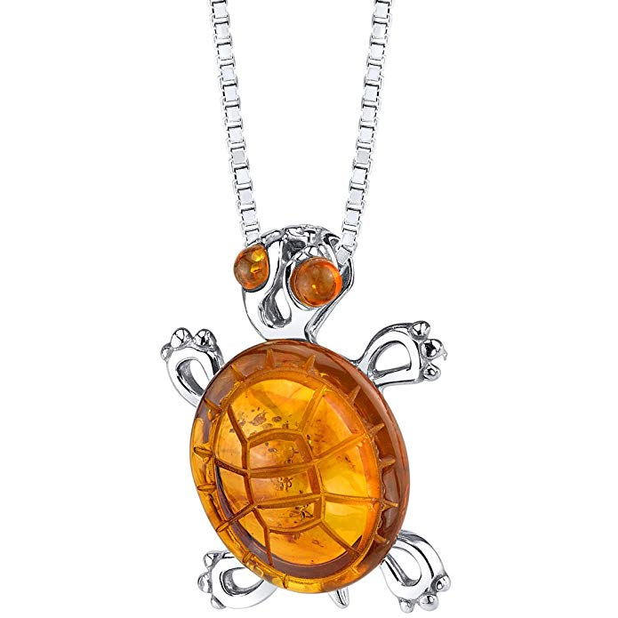 Baltic Amber Turtle Pendant Necklace Sterling Silver Cognac Color