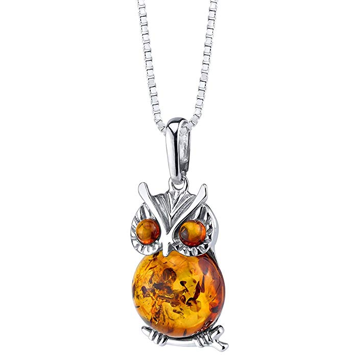 Baltic Amber Owl Pendant Necklace Sterling Silver Cognac Color