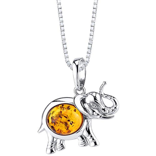 Baltic Amber Elephant Pendant Necklace Sterling Silver Cognac Color