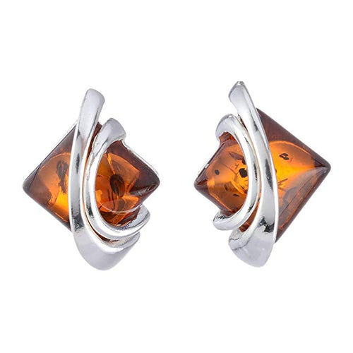 Baltic Honey Amber Sterling Silver Earrings Studs