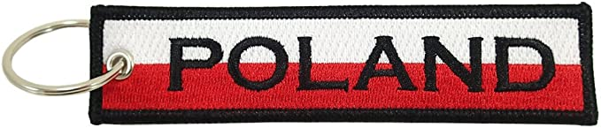 Embroidered Poland Flag Keychain