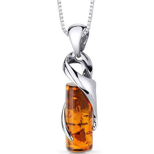 Baltic Amber Cylindrical Pendant Necklace Sterling Silver Cognac