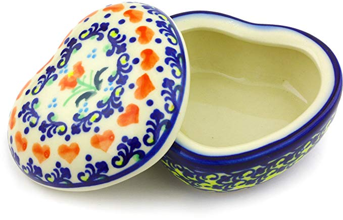 Polish Pottery Heart Shaped Trinket Jewelry Box