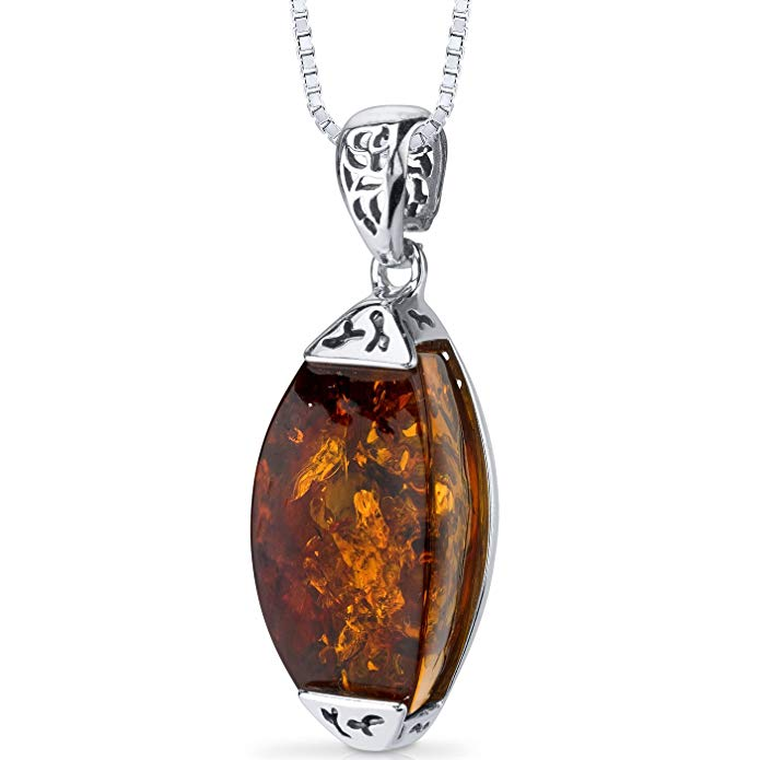 Baltic Amber Pendant Necklace Sterling Silver Cognac