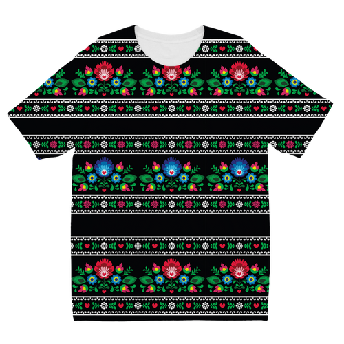 Black Floral Sweater 1 Sublimation Kids T-Shirt