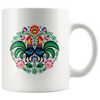 Polish Folk Art Rooster Circle Coffee Mug. 11oz and 15oz