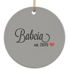 Babcia est. 2019 Ceramic Circle Ornament- Multiple Color Options