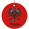 Polska Eagle Ceramic Circle Ornament-Multiple Color Options
