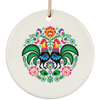 Polish Folk Rooster Ceramic Circle Ornament
