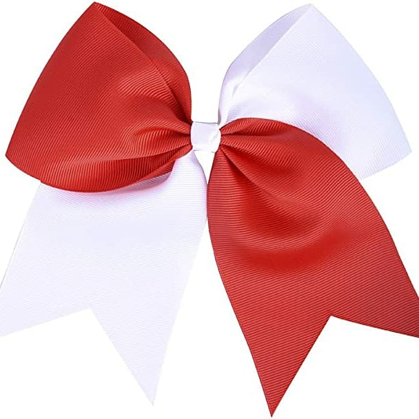 Large White and Red HairBow with Pony-O