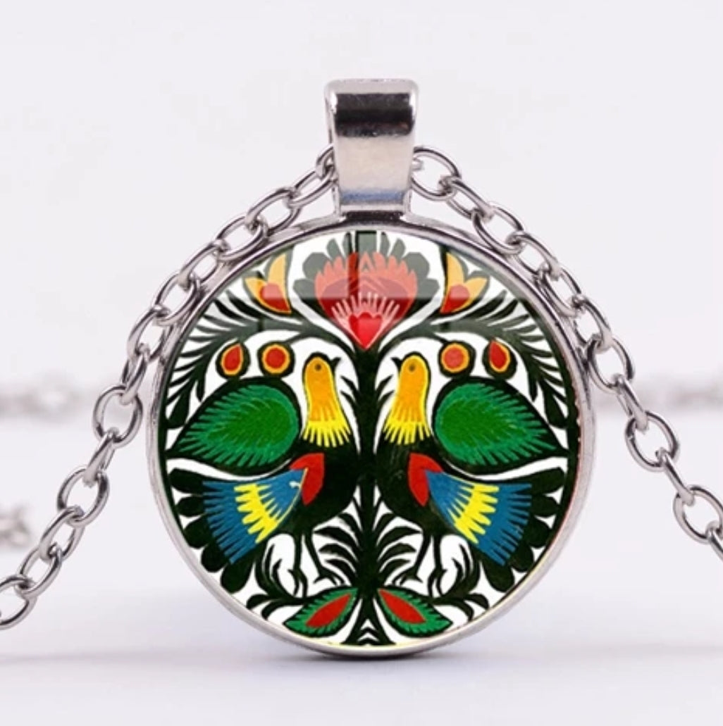 *READY TO SHIP* Polish Folk Design Glass Cabochon Pendant Necklace #1