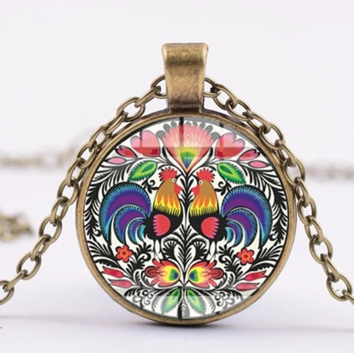*READY TO SHIP* Polish Folk Design Glass Cabochon Pendant Necklace #3 4 Color options
